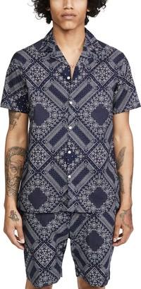 Officine Generale Japanese Cotton Bandana Print Short Sleeve Shirt