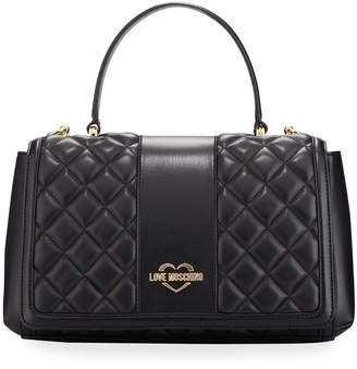 Love Moschino Borsa Quilted Faux-Leather Top Handle Bag