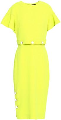 Lela Rose Button-detailed Neon Wool-blend Crepe Midi Dress