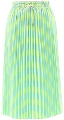 Proenza Schouler White Label Diffused Gingham Georgette Pleated Skirt
