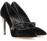 Oscar de la Renta Velvet embellished pumps