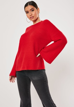 Missguided Red Rib Wide Sleeve Knitted Jumper