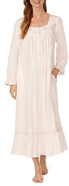 Eileen West Embroidered Flannel Nightgown