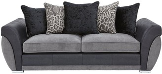 Hilton Fabric and Faux Leather 3 Seater Scatter Back Sofa