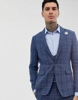 Gianni Feraud slim fit linen blend check suit jacket