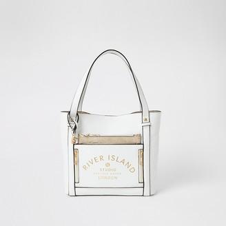 River Island Girls white RI Studio shopper bag