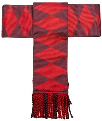 Etro Fringed Geometric-jacquard Silk Belt - Womens - Red