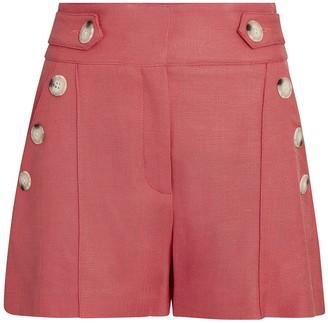 Veronica Beard Pine Sateen Button Shorts