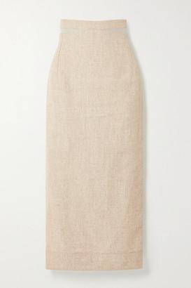 Jacquemus Cutout Woven Midi Skirt - Beige