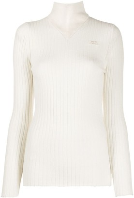 Courreges Mock-Neck Ribbed Sweater