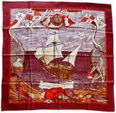 One Kings Lane Vintage Hermes Christopher Columbus Scarf - The Emporium Ltd. - burgundy/orange/blue/brown/purple/multi