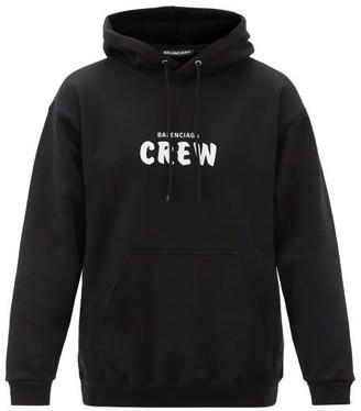 Balenciaga Logo-print Cotton-jersey Hooded Sweatshirt - Black