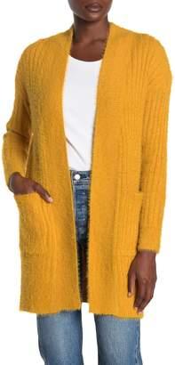 Woven Heart Eyelash Rib Knit Open Front Cardigan