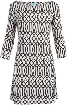 Modern Touch Women's Casual Dresses WHITE/BLACK - White & Black Lattice Three-Quarter Sleeve Dress - Women