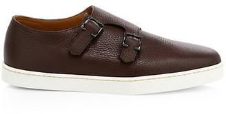 John Lobb Holme Double Buckle Grain Monk Strap Leather Sneaker