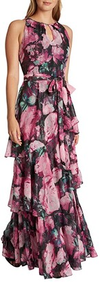 Tahari ASL Metallic Clip Floral Chiffon Gown with Tiers (Aster Night Bloom) Women's Dress