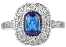 A&M A & M Silver-Tone Sapphire Accent Ring