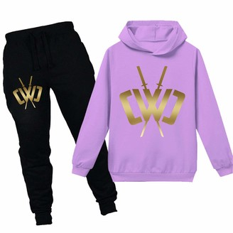 N/F Chad Wild Clay Boys Game Hooded Girls Sweater and Trousers Set CWC Kids Sportswear Tops (Sky 9-10years)
