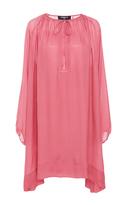 Paule Ka Long Sleeve Oversized Silk Tunic Dress with Tie