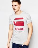 G Star G-Star T-Shirt Resap Crewneck G Raw Logo Print in Gray Heather