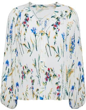 Maje Larcy Plisse Floral-print Crepe Blouse