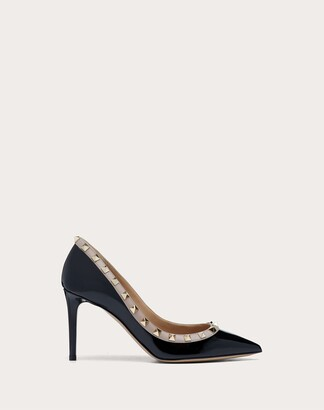 Valentino Patent Rockstud Pump 85mm Women Black/poudre Cotton, Polyester 35.5