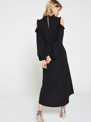 Very Ruffle Cold Shoulder Dress - Black