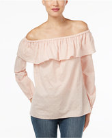 MICHAEL Michael Kors Ruffled Off-The-Shoulder Peasant Top