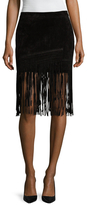 Blank NYC Seal The Deal Leather Fringe Skirt