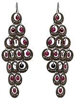 AJ Fashion Jewellery Pleasures Antique tone Fuchsia Sparkle Hook Earrings