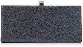 Jimmy Choo CELESTE Navy Crackly Glitter Fabric Clutch Bag with Cube Clasp