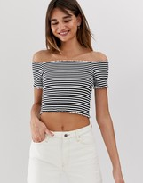 Monki off shoulder cropped t-shirt in black and white stripe