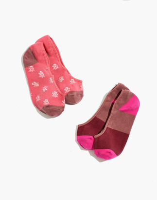 Madewell Two-Pack Floral Colorblock Low-Profile Socks