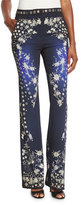 Roberto Cavalli Star-Print Boot-Cut Pants, Blue/Multi