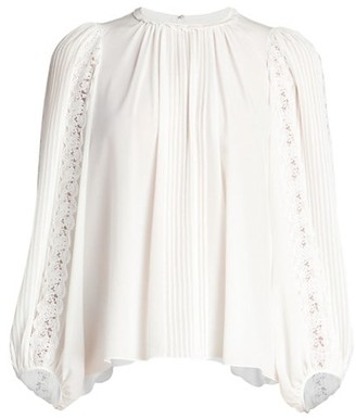 Chloé Silk Georgette Lace-Sleeve Top