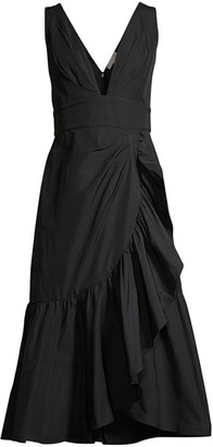 Rebecca Taylor Ruffled A-Line Midi Taffeta Dress