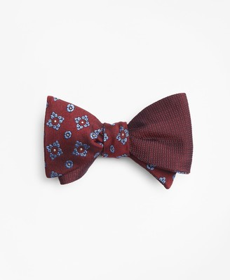 Brooks Brothers Textured Flower with Square Medallion Reversible Bow Tie