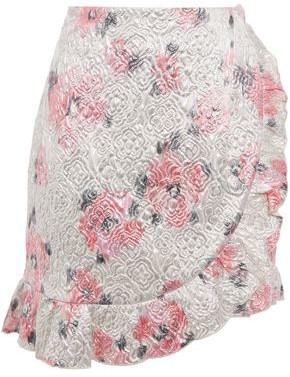 ALEXACHUNG Wrap-effect Ruffle-trimmed Brocade Mini Skirt