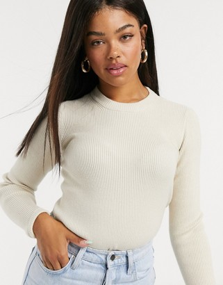 Pieces ribbed jumper in cream