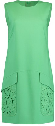 Oscar de la Renta Crewneck Laser Pocket Shift Dress