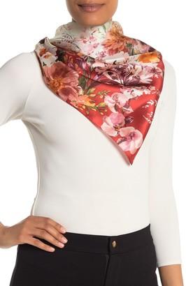 Max Studio Linear Border Floral Print Silk Square Scarf