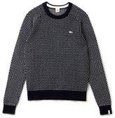 Lacoste Women's Live Crew Neck Wool Blend Mini Jacquard Sweater