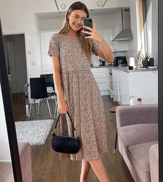 Wednesday's Girl midi smock dress in smudge polka dot