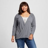 Ava & Viv Women's Plus Size Knit Wrap Long Sleeve Top Heather Gray
