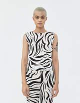 Pleats Please Issey Miyake Women's Zebra Printed Tank Top in Black/White, Size 3