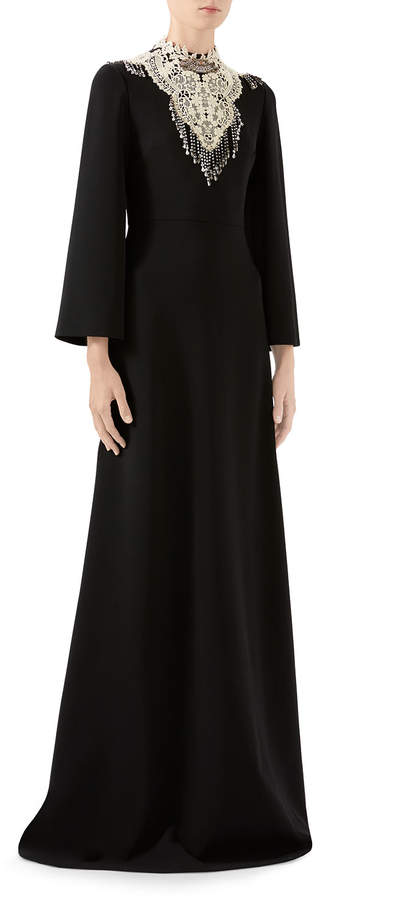 Gucci 3/4-Sleeve Bejeweled High-Neck Gown