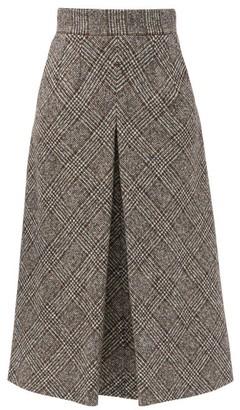 Dolce & Gabbana Prince Of Wales-check Wool-blend Tweed Midi Skirt - Grey Multi