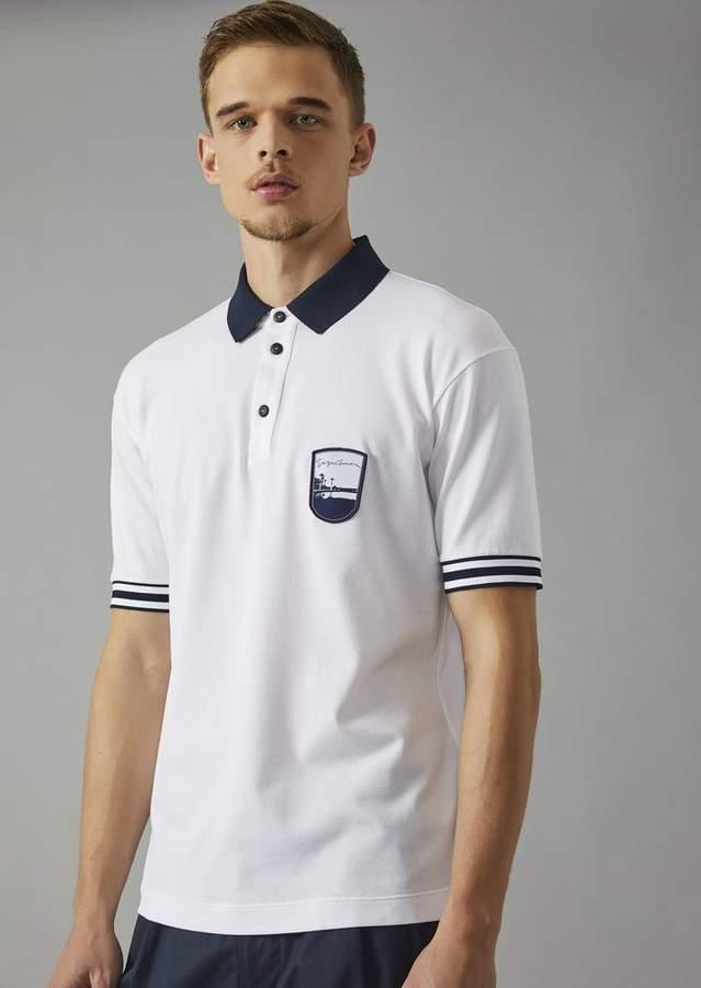 Giorgio Armani Cotton Polo Shirt With Embroidered Pantelleria Emblem