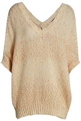 Piazza Sempione Short-Sleeve V-Neck Knit Sweater