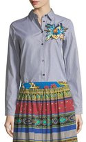 Etro Floral-Embroidered Striped Shirt
